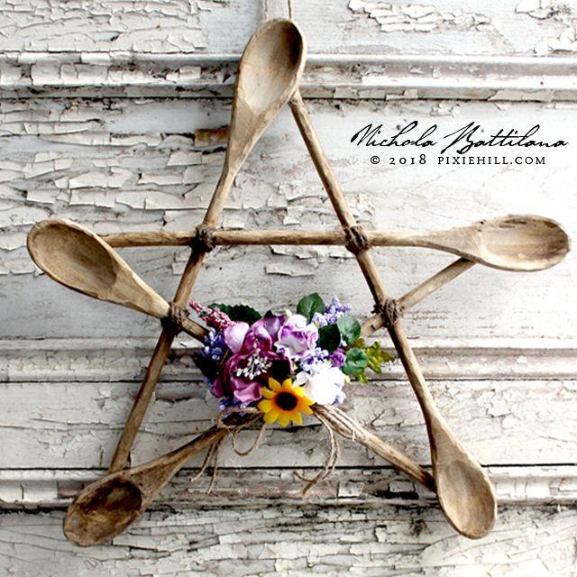 Rustic Spoon Star a Kitchen Witch Pentagram with Tutorial - Nichola Battilana pixiehill.com