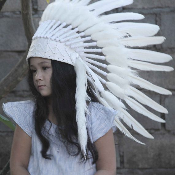 whithe children headdress. white headdres indian by etnikabali