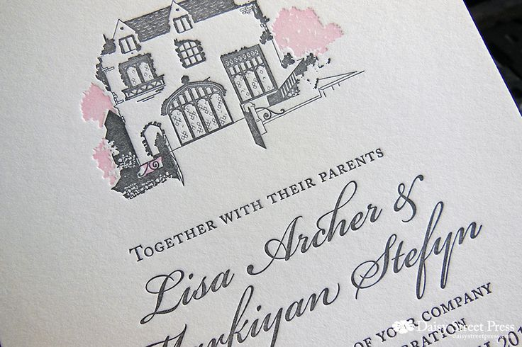 Montsalvat letterpress wedding invitation. Bit fiddly but totally enjoying sketching the Great Hall for this wedding invite design! Soft pink and grey inks on Soft White cotton paper.