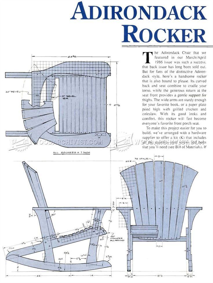#1860 Adirondack Rocking Chair Plans - Outdoor Furniture Plans