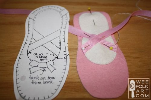 Ballet Shoes Pattern or Template | ... the inside slipper piece, following pattern placement. Pin in place