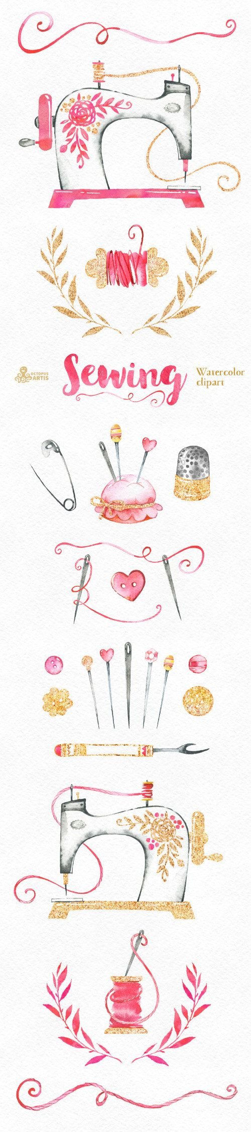 Sewing. Branding Kit and Clipart, watercolor, gold, diy, logo, needle, identity, stickers, invite, stitching, needlework, knit