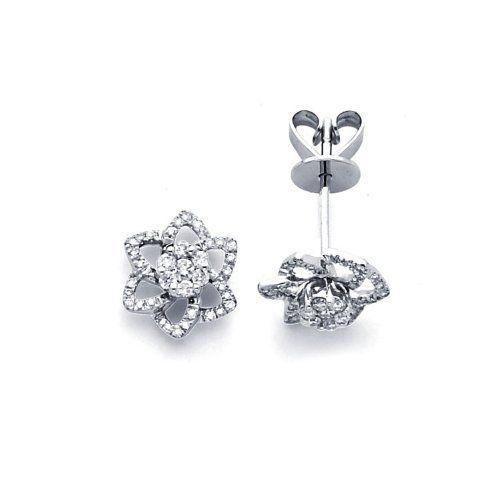 Rose Flower Diamond Earring Studs 14k White Gold Cluster (1/3 Carat) Jewel Roses. $602.00