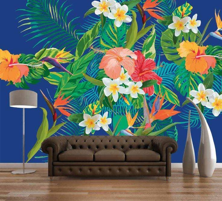 Papier peint panoramique fleurs colorée oiseau du paradis