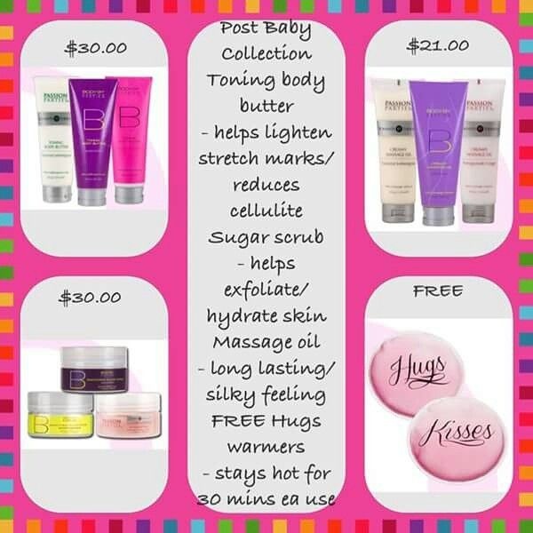 Post Baby Collection... Spoil yourself with these products your body will thank you later.  to order www.sylverpassions.com*