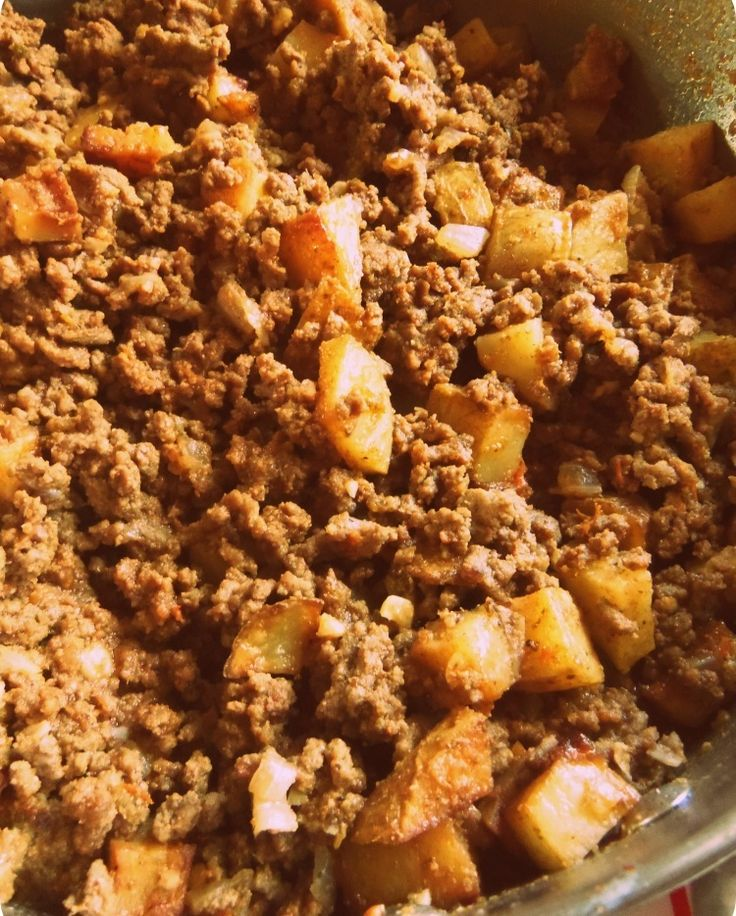 Beef Picadillo, I added diced carrots and corn.