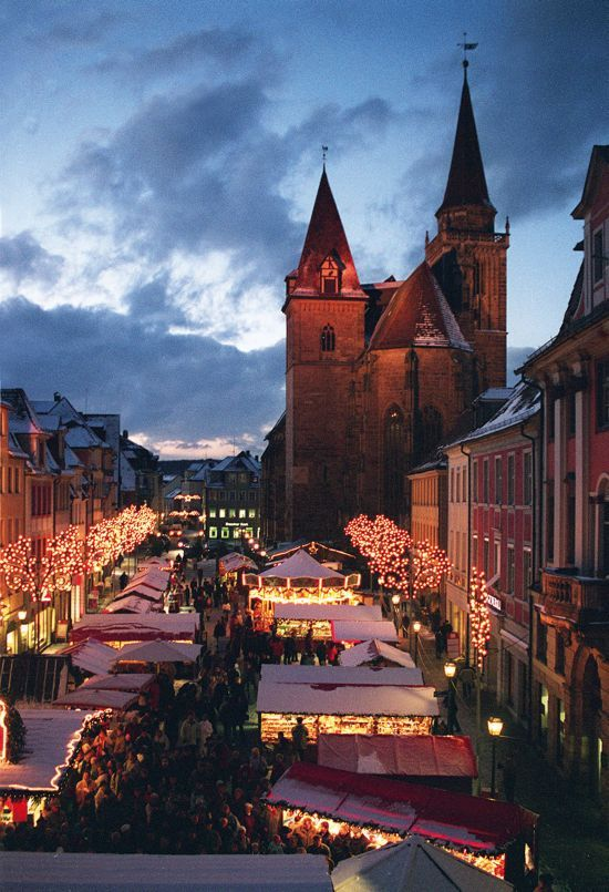 Christmas market - many German towns have these. I love them. So magical. Weihnachtsmarkt, Ansbach, Bavaria, Germany.