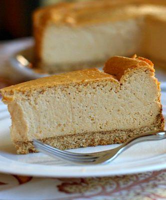 Low Fat Pumpkin Cheesecake | @recipegirl