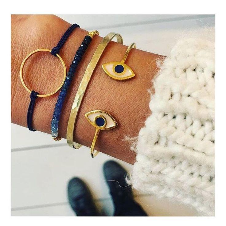 Today's stylish bracelets from Munich #munich #munichblogger #fashionblogger #greekdesigners #mylifelikes #lovejewels #sparkle #mycharms #evileye #bangle #gold #blueblack @thisislemoni