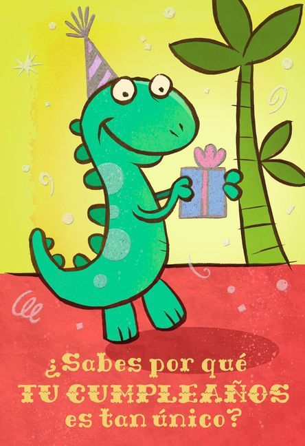 Make a child feel extra special when you let a friendly dinosaur offer your birthday wishes and a gift with this sweet card in Spanish. Its fun design and message celebrate a very special birthday girl or boy. Hallmark VIDA is the brand to help you celebrate important occasions, connect with friends and family, and cultivate traditions in ways that are uniquely Hispanic.