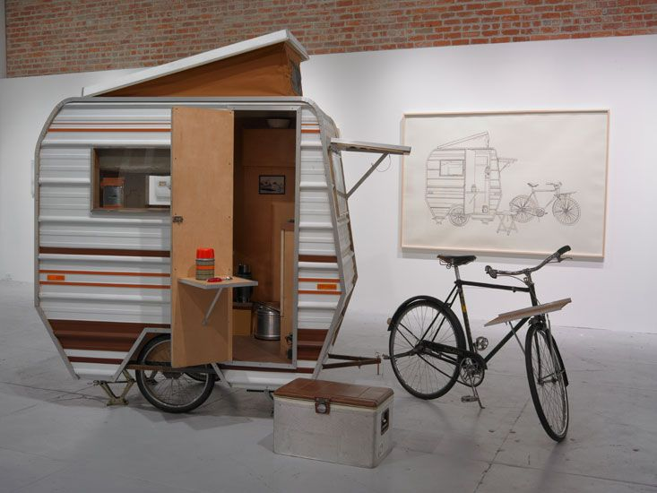 """The camper is part of an art exhibit called """"in the weeds"""" by Kevin Cyr. very cool looking and has gotten a great deal of interest in this ideal of a mini bicycle camper. They were not really meant to be used in any kind of a practical sense, just for show as an art exhibit."""