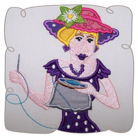 Applique Amanda Quilt Lady 3 Machine Embroidery design