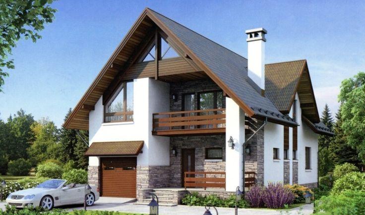 Дом с гаражом из пеноблоков 170 кв.м проект № 54-94