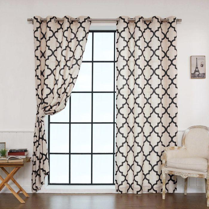 Kayla Moroccan Print Semi-Opaque Grommet Curtain Panel Pair