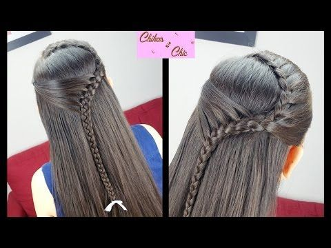 Hairstyles for medium to long hair _Rope waterfall half updo / Indian party hairstyles - YouTube