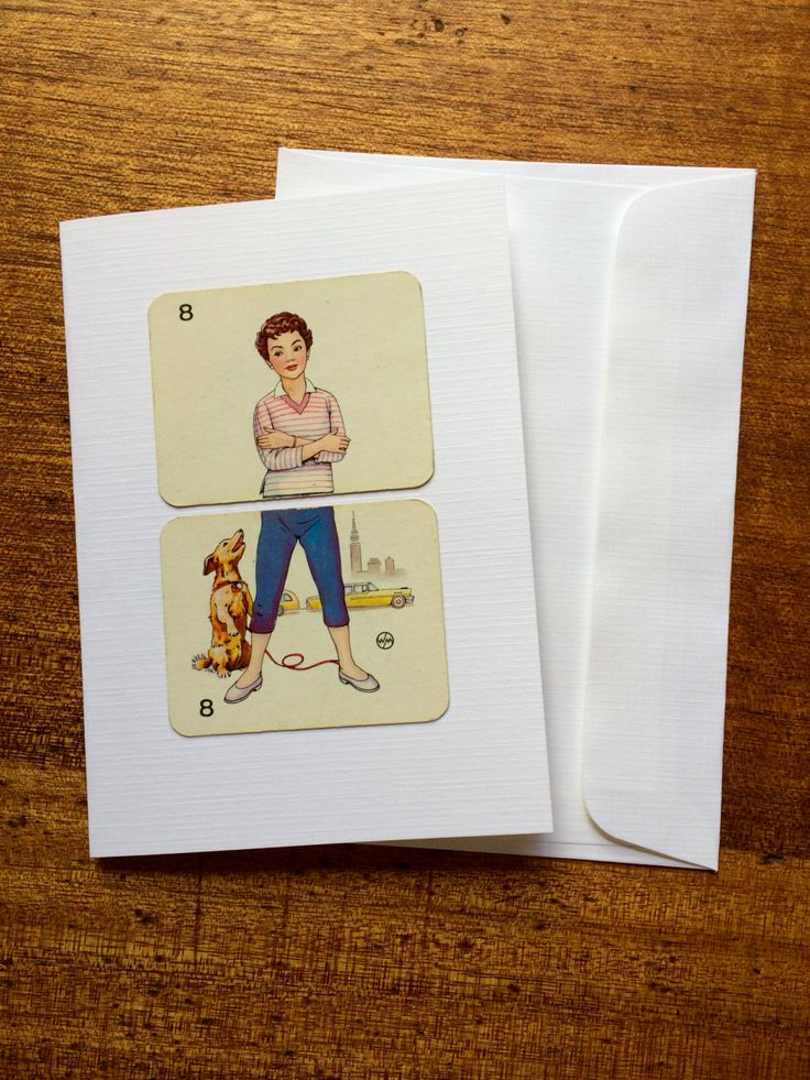 Retro card for Ladies, Greeting retro card for female, Blank vintage card, Lady & dog card, Handmade card, Retro greeting card by RetroMementos on Etsy