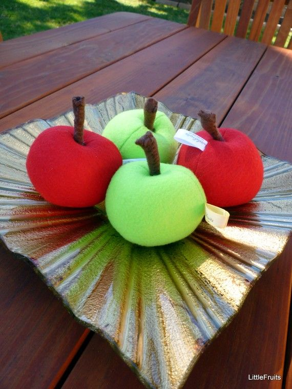 Felt Apples red and green Handcrafted Toy Pretend Play Food or Home Decor Set of 2