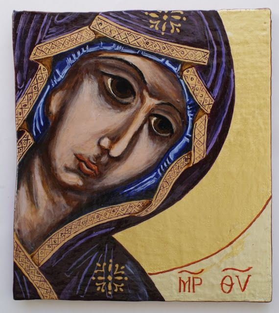 The icon of Virgin Mary. Painted on board. 24 ct gold in two tones in halo.