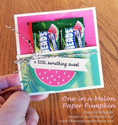 Paper Pumpkin One in a Melon Treat Holder by Dawn Olchefske #dostamping