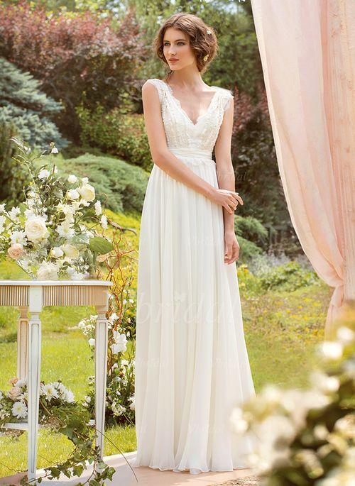 Robes de mariée - $142.99 - Forme Princesse Col V Longueur ras du sol Mousseline Robe de mariée avec Dentelle (0025055896)