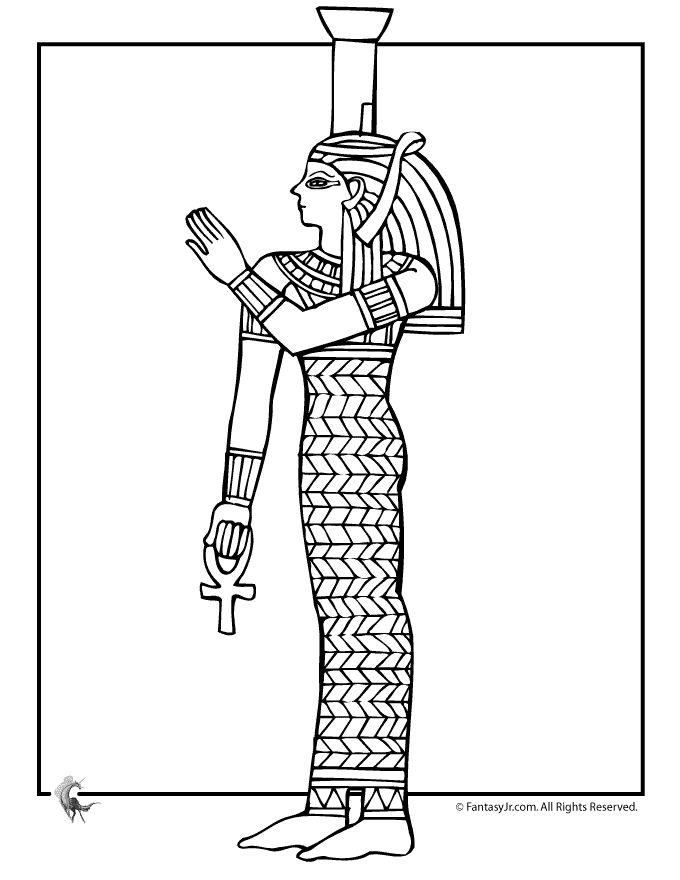 Starověký Egypt Omalovánky egyptské královny Coloring Page - Fantasy Jr.