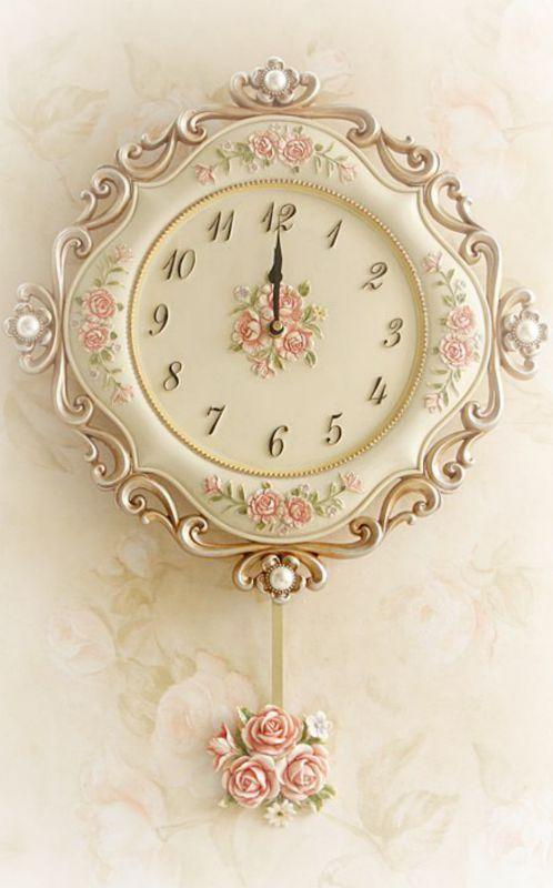"shabbychicdecor: "" Beautiful shabby chic style wall clock """