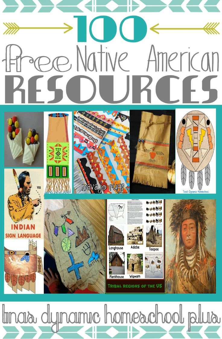 100 Free Native American Resources. From arts & crafts to free printables to teaching guides...great resource for your unit study!