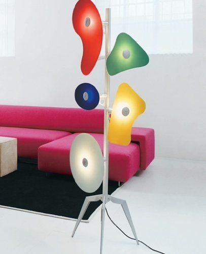 "Orbital floor lamp by Foscarini by Foscarini. $125.00. The Foscarini Orbital floor lamp is designed by Ferruccio Laviani in 1992. This unique floor lamp is constructed of coloured or white plates in various shapes in silkscreen-printed glass, mounted on a lacquered metal structure. Details: Manufacturer: Foscarini Designer: Ferruccio Laviani Made in: Italy Dimensions: Height: 66 7/8"" (171cm) , Width: 20 3/4"" (53cm) Light bulb: 5 x 40W inc. - not incl. Material glas..."