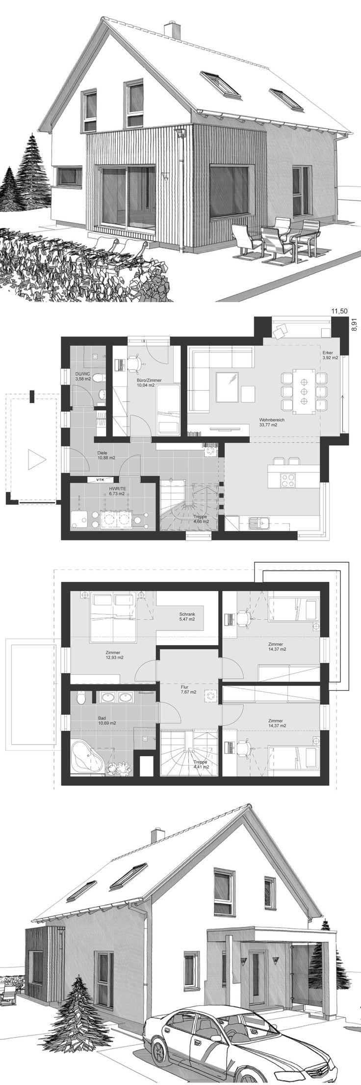 Einfamilienhaus Architektur klassisch Grundriss mi…