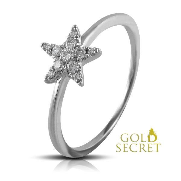 Dreams Secret of Star by Gold Secret. Sortija Oro Blanco de 18 k., Estrella engarzada con 11 Brillantes White Wesselton SI, 0,11 Quilates. Ref 203069-1
