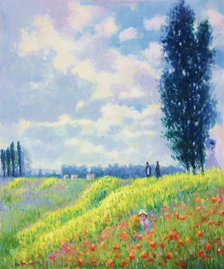 Claude Monet, Walk in the Meadows at Argenteuil - Hand Painted Oil Painting on Canvas - Canvas Art & Reproduction Oil Paintings #OilPaintingArt