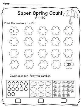 this freebie is a set of 2 worksheets focusing on numbers 1 20 a great spring review tpt. Black Bedroom Furniture Sets. Home Design Ideas