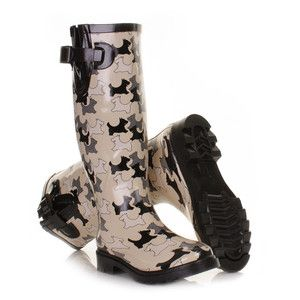 WOMENS LADIES BLACK CREAM DOG WELLIES FESTIVAL WELLINGTON BOOTS SIZE 3-8 | eBayUK.   I would love these!