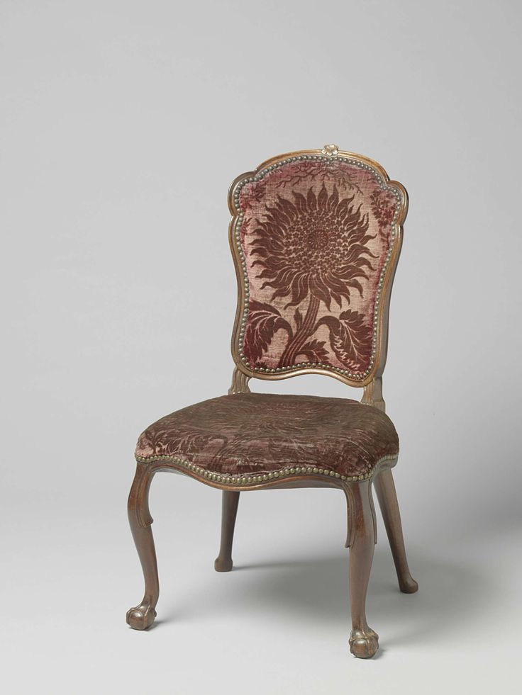 Dutch period interpretation of the Louis XV style: both French and English influences on this type of chair from which more examples exist.  The backrest is upholstered, which was typical French and less seen by English chairs of this size,  and of 'en cabriolet' style. However, the legs are typical English. This chair is made ca. 1760 - 1775. Dutch and English chairs at this time were mostly made of mahogany or elm. The French uses beechwood and oak.