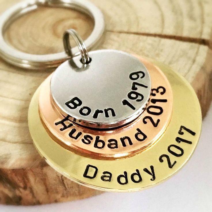 Personalisierte Geschenke für Mann Papa Schlüsselring personalisierte Ort Schl