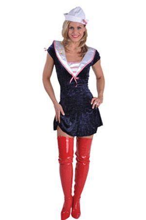 Sexy sailor meisje kostuums  Sexy matroos jurk met mutsje. Leuk matrozen jurkje voor dames met een roze en wit gestreepte kraag. Het sexy matrozen jurkje heeft een fluwelen look en is inclusief matrozen hoedje.  EUR 50.36  Meer informatie