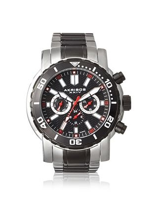 82% OFF Akribos XXIV Men's AK675TTB Oversize Silver/Black Stainless Steel Watch