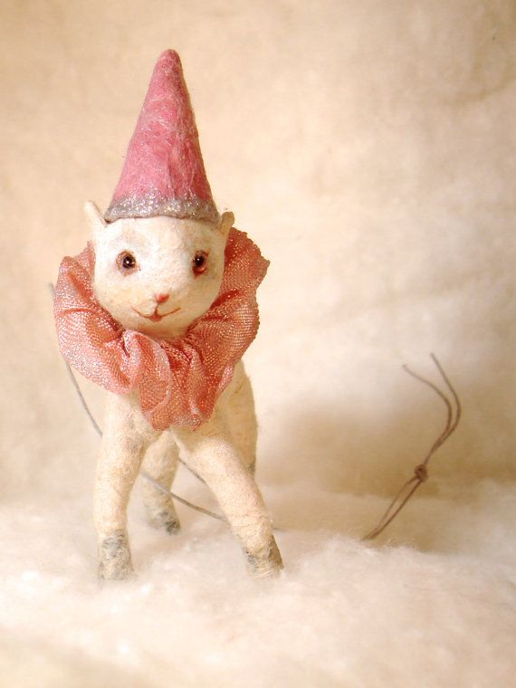 Spun cotton baby lamb a Christmas feather tree vintage by jejemae