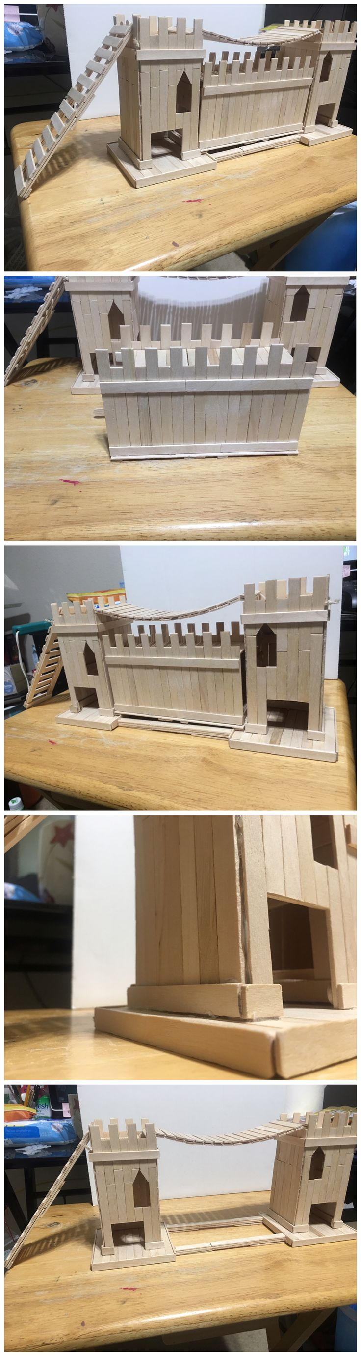 Homemade diy hamster castle made out of popsicle sticks. Has a removable middle for cleaning and bridge with ladder.