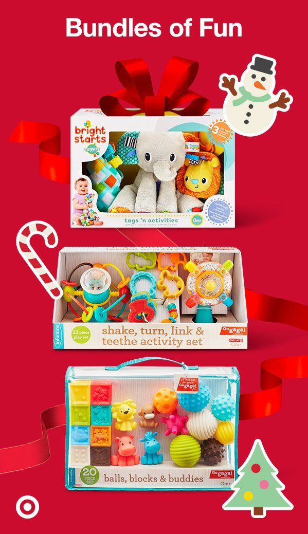 Baby's First Christmas? Gift them with colorful toys this season that'll bring on the giggles and smiles. These gift sets encourage active play and learning, keeping little hands busy. Bright Starts Tags 'n Activities includes 3 pieces, including a taggies elephant, book and lion. Infantino Go GaGa Shake, Turn, Link & Teethe activity set and Balls, Blocks & Buddies set includes brightly colored pieces that you and Baby can engage with.