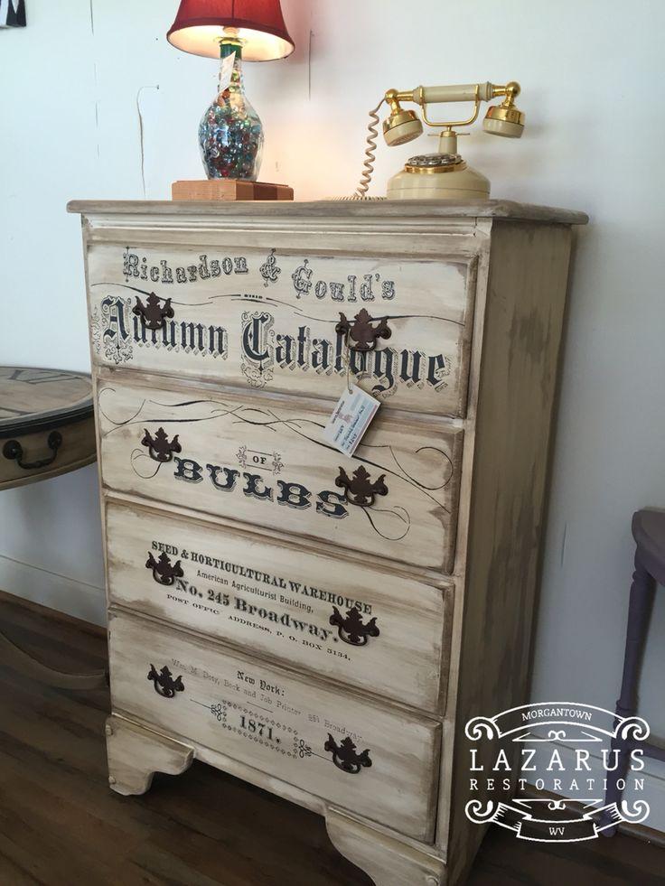 Dresser redo with Heirloom Traditions Buttermilk and IOD transfer  Lazarus Restoration pieces