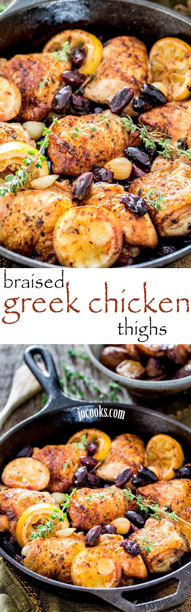 Skillet Braised Greek Chicken Thighs - juicy and crispy chicken, kalamata olives and pearl onions come together in this beautiful one pot dish for an easy dinner.