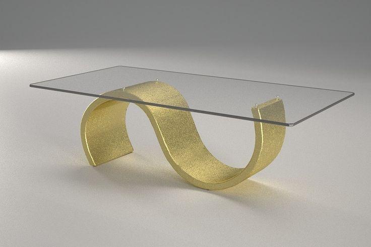 Articolo 416-9     Tavolino da salotto Crono - Finitura: oro.Misure: cm 110 x 65  - Altezza: cm 38 - Peso: Kg. 42 - Vetro: rettangolare -  temperato - extrawhite - filo lucido - spessore 1 cm