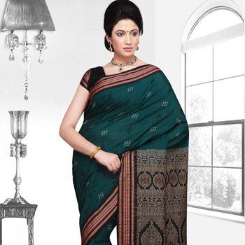 Dark Teal Green Odisha Handloom Bomkai Cotton Saree with Blouse