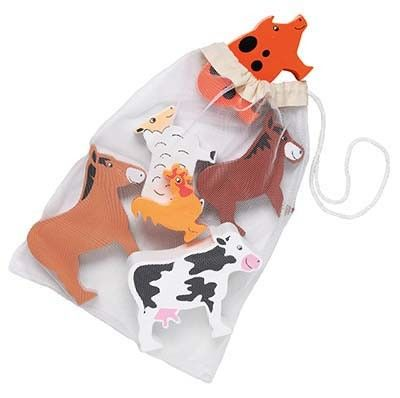 Young children will love playing farms with this colourful array of 6 different chunky solid wood farm animals all kept safe in a drawstring net bag