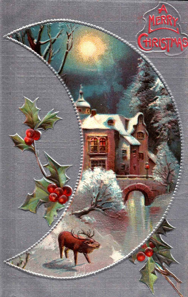 Vintage Christmas card with snow scene in a moon shape and a sprig of holly.