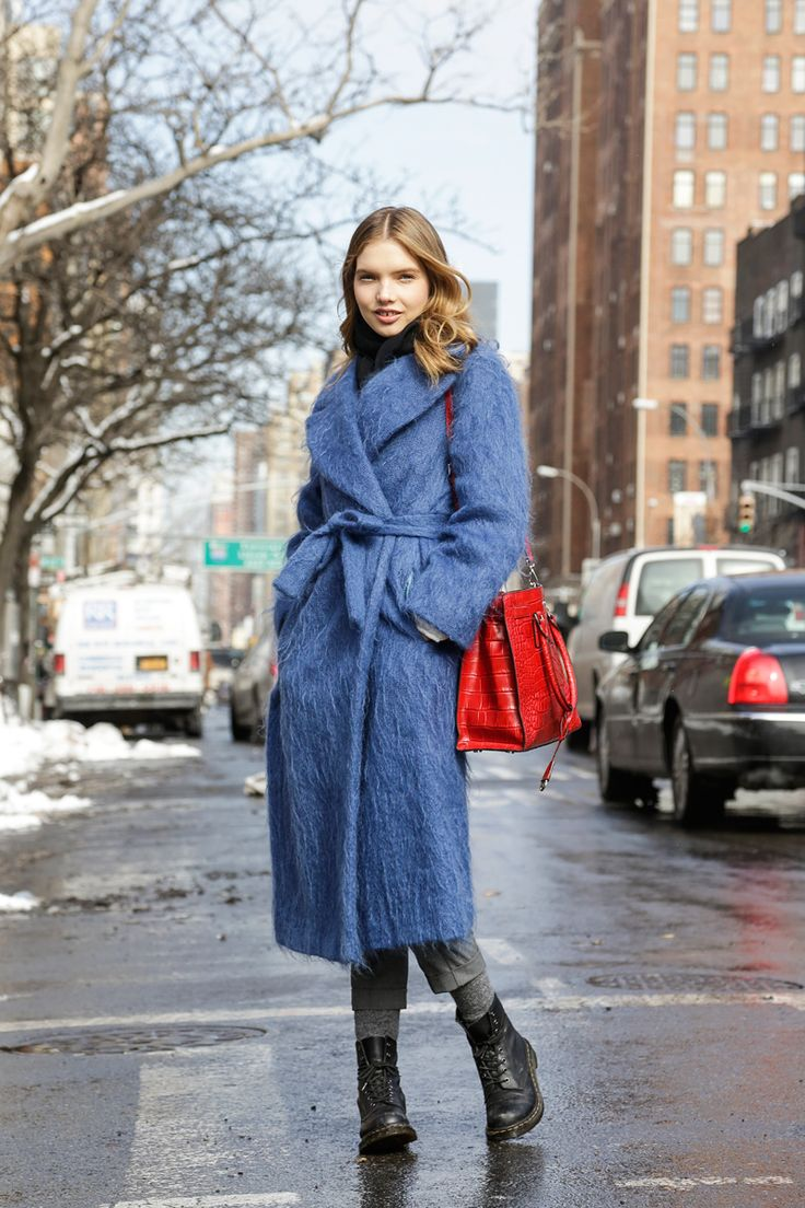 The perfect blue coat| Street Style, New York Fashion Week: 24 shots of fun fur, primary hues and chic Canucks