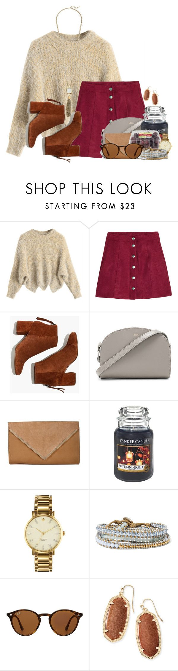 """""""Sweet 16!!"""" by annaewakefield ❤ liked on Polyvore featuring H&M, Madewell, A.P.C., Yankee Candle, Kate Spade, Chan Luu, Ray-Ban, Kendra Scott and Cole Haan"""