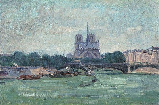 A.H. Gouwe, Rivier de Seine met de Notre Dame, 1913