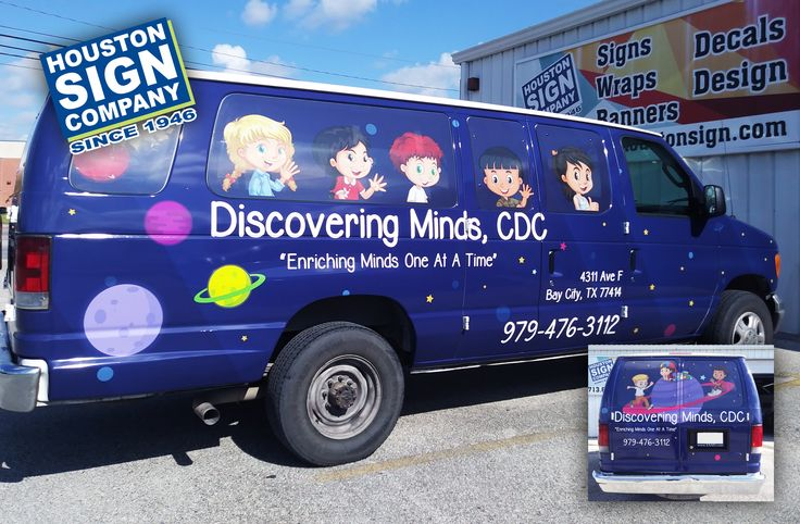 We've done it again! Another successful vehicle wrap designed and produced by Houston Sign Company!  Vehicle wraps are only one of the many things we can do here at Houston Sign Company. Give us a call 713.662.3123 | houstonsign.com  #HoustonSignCompany #Houston #HTX #Houston #Carwrap #VehicleWrap #VinylWrap #DiscoveringMinds #children #spacetheme
